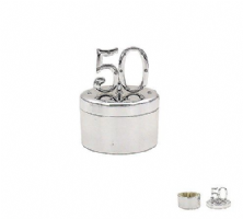 50 50th Birthday or Anniversary Silverplated Diamante Keepsake Trinket Box